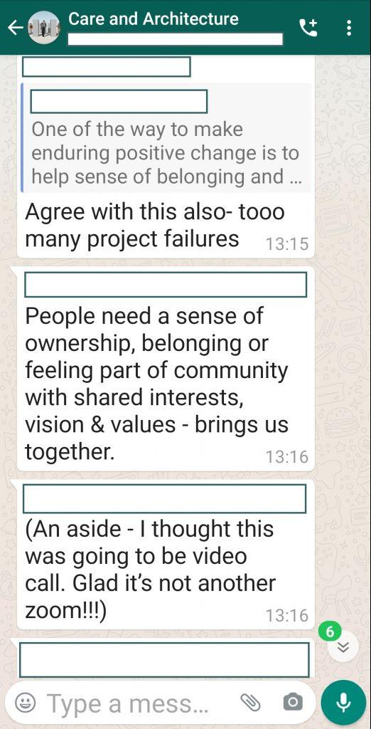 Screenshot from WhatsApp group